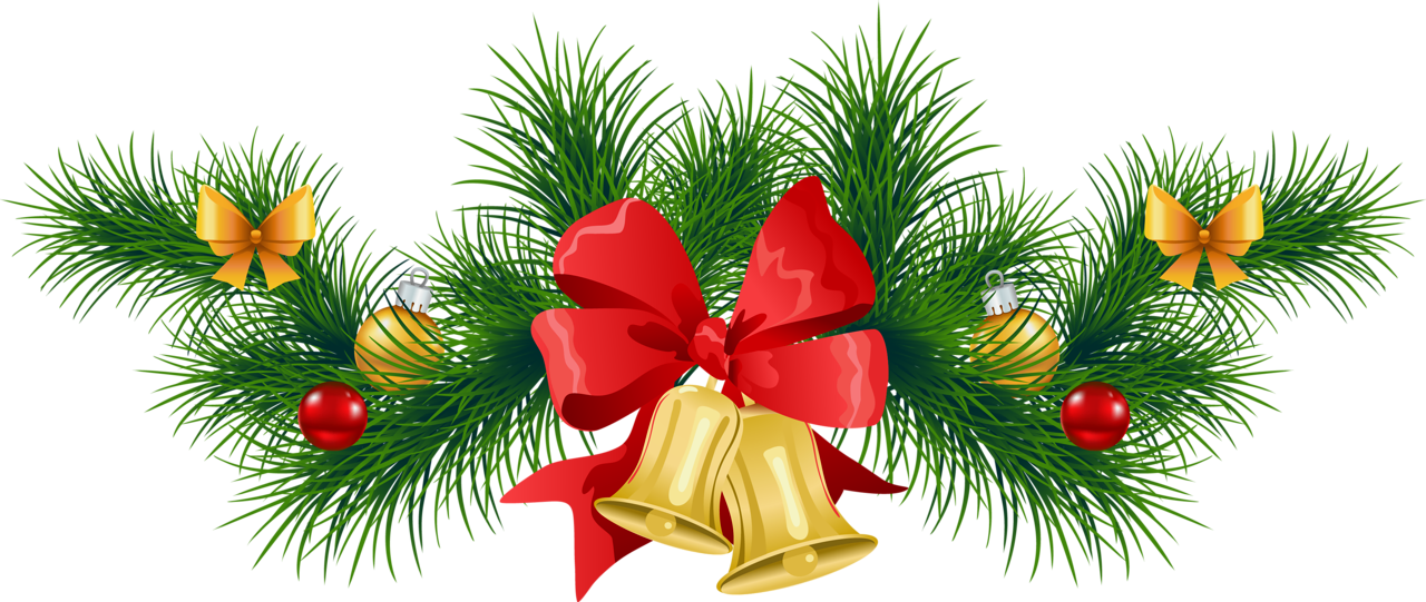 Transparent Christmas Pine Garland with Bells Clipart